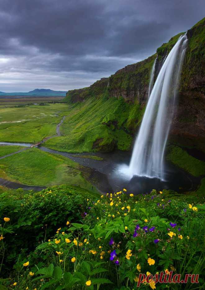 "coiour-my-world: "" Overcast ~ Seljalandsfoss, Iceland ~ Dave McEllistrum """
