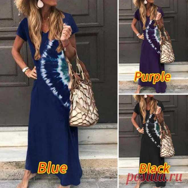 Женский сарафан с принтом в виде галстука ZANZEA, Летнее Длинное Платье Макси в богемном стиле с v образным вырезом и коротким рукавом, платье с цветочным принтом, 5XL Платья    АлиЭкспресс