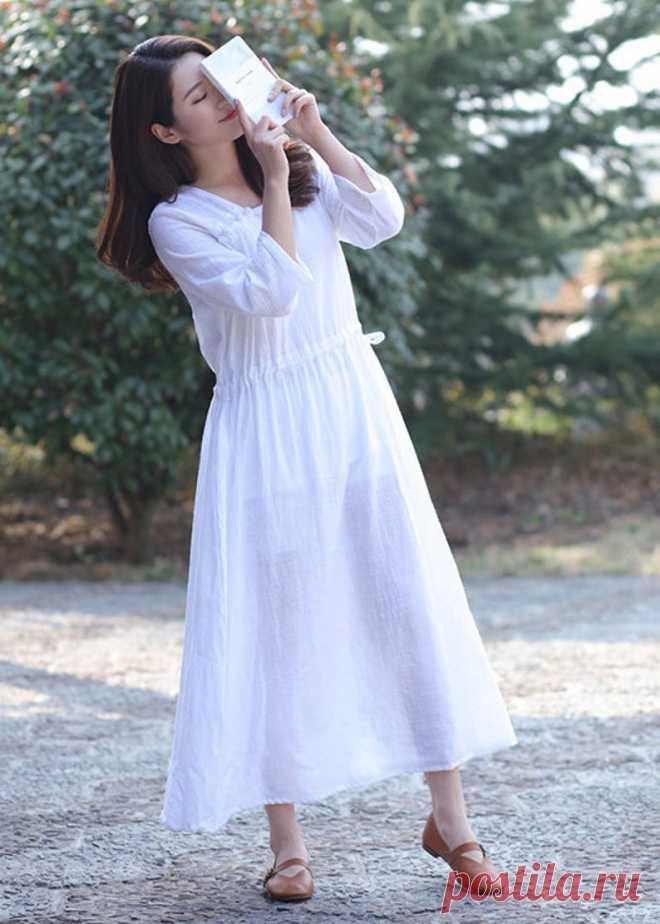 Cotton midi dress Women's Linen dress white dress | Etsy