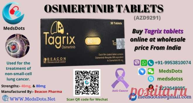Tagrix 80mg is a generic Tagrisso brand developed by Beacom Pharma. MedsDots, a true Indian Pharmacy is a wholesale supplier of generic Osimertinib tablet brands. It has Osimertinib (AZD9291) as its active drug salt and used to treat non-small-cell lung cancer (NSCLC) and certain other tumor cases. MedsDots offers you to Buy Tagrix 80mg tablets and its alternative brands at wholesale prices around from worldwide countries like the USA, the UK, #China, Philippines, UAE, etc with quality assured.