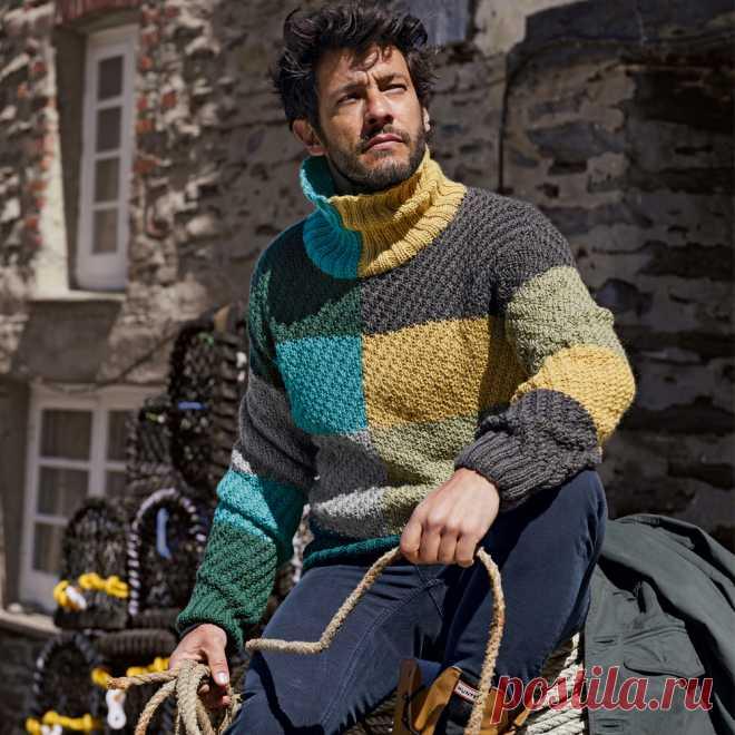 Мужской свитер в стиле колор-блок - схема вязания спицами. Вяжем Свитеры на Verena.ru
