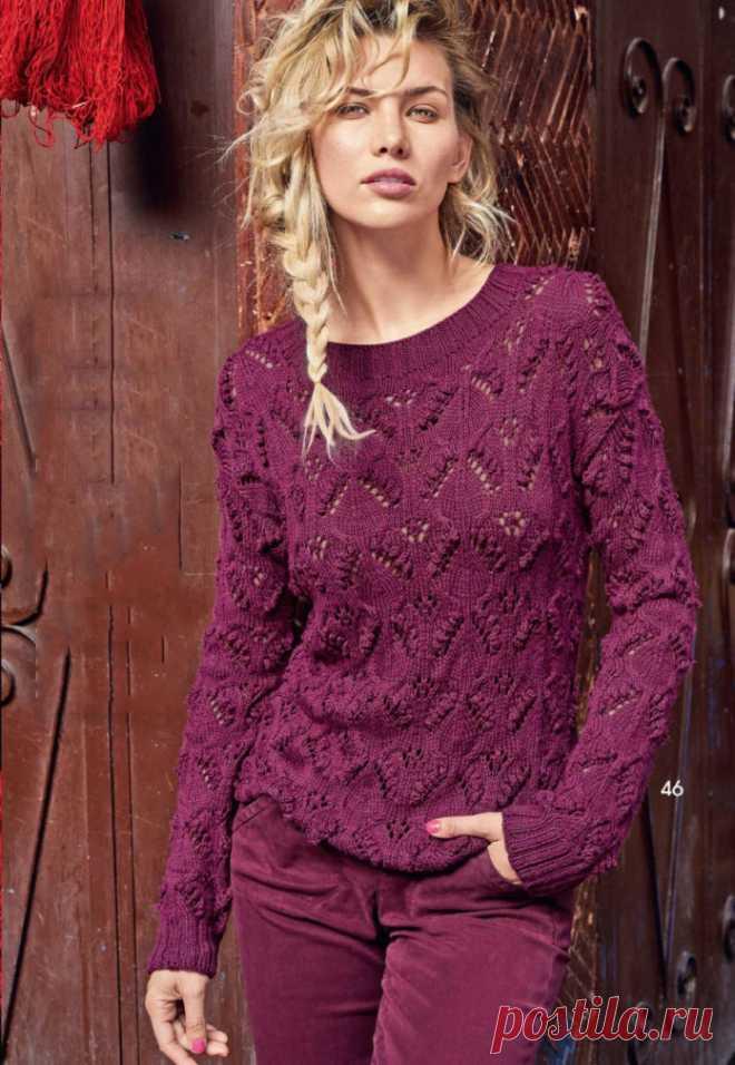 El pulóver de frambuesa por los rayos con la cinta chiné - el Portal de la costura y la moda