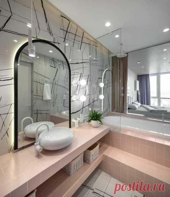 Золото, окно и яркие стыки. Удивительно красивые и стильные элементы в простых ванных комнатах