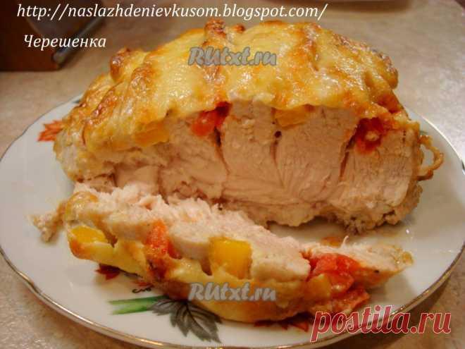 Куриная грудка, запеченная с черри и перцем в йогурто-чесночном соусе (рецепт с фото) | RUtxt.ru