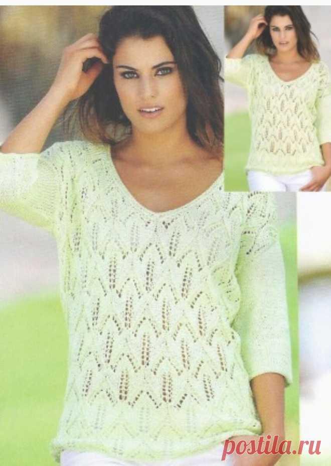Ажурный пуловер лимонного цвета