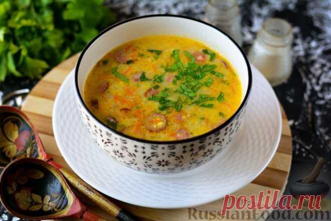 Рецепт: Гороховый суп с охотничьими колбасками и плавленым сыром на RussianFood.com