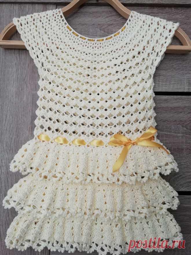 детское платье крючком с круглой кокеткой вязание спицами и