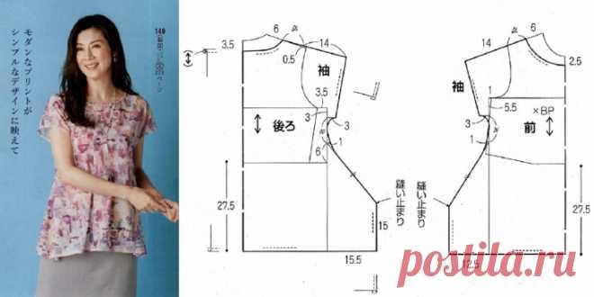 Топ-блуза с интересным низом (Выкройка) Модная одежда и дизайн интерьера своими руками