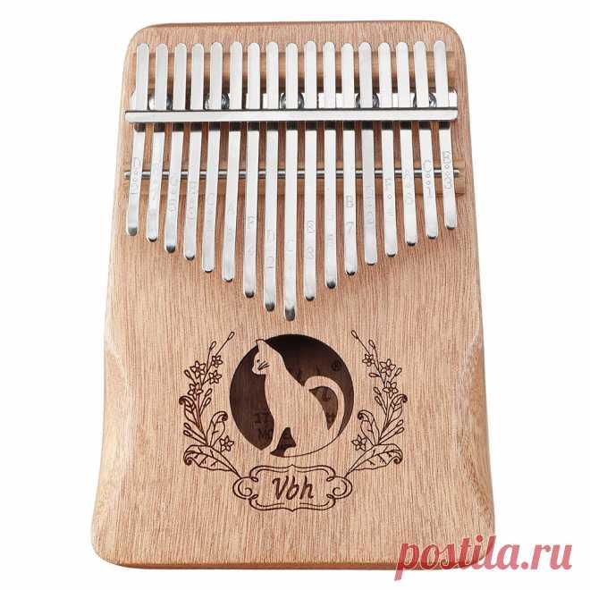 17 key thumb piano mahogany kalimbas wood acoustic musical instrument for beginner with accessories Sale - Banggood.com