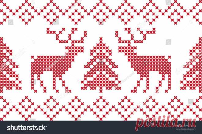 Embroidered Pattern New Year Christmas Vectores En Stock 500201125 - Shutterstock