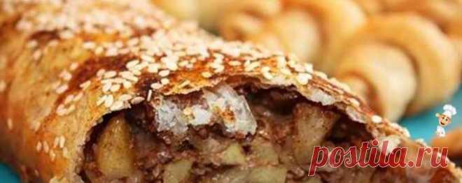 Яблочный штрудель с орехами - Рецепты выпечки