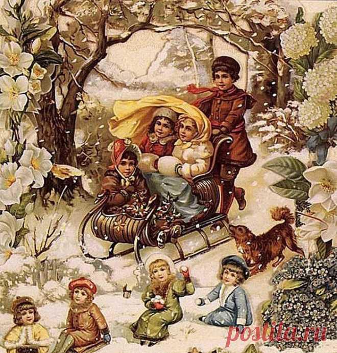 Мишки, старые рождественские открытки фото