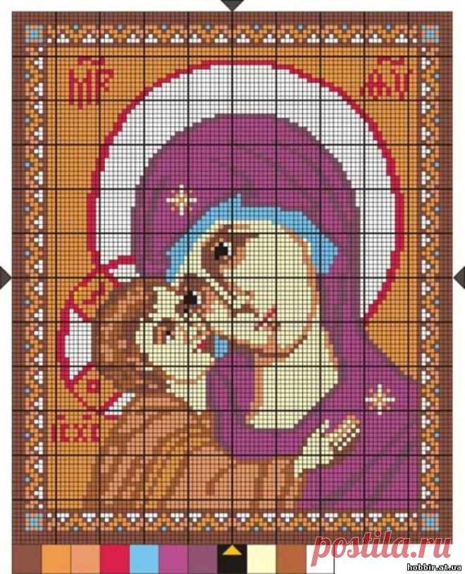 Цветная схема для вышивки крестиком бисером. Образ Пресвятой Богородицы. Игоревская