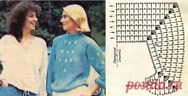 """Вязание. Красивые вещи с красивыми узорами. Добрый день, читатели. Продолжу рассказ об увлекательных моделях журнала """"Вязание"""" за 1985 год, автор Л.С. Усс. Знакомимся с пуловерами с рукавами реглан. Для 44-46 размера используем шерстяные, хлопчатобумажные и швейные нити № 10, всего 300 - 350 г. Крючок № 1,5 - 2. Все пуловеры связаны """"сеткой"""". Клетку """"сетки"""" вяжут из 1 воздушной петли и 1-го столбика с накидом, вяжущихся в косичку рукоделие, вязание,рукоделие,хобби,шитье,вя..."""