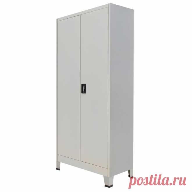 vidaXL Oceľová šatňová skrinka s 2 dverami, 90x40x180 cm, šedá | vidaXL.sk