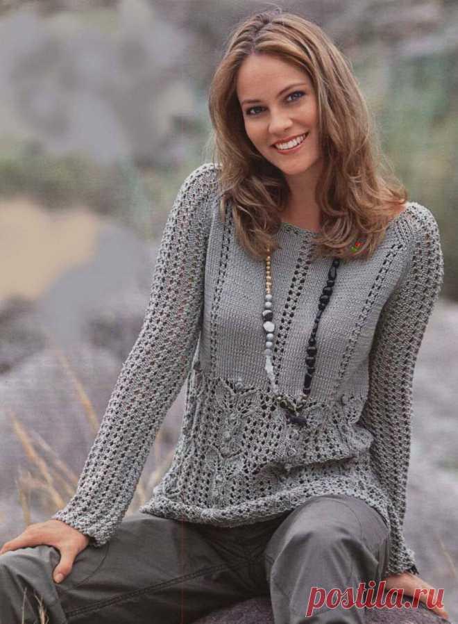 Gray openwork pullover.