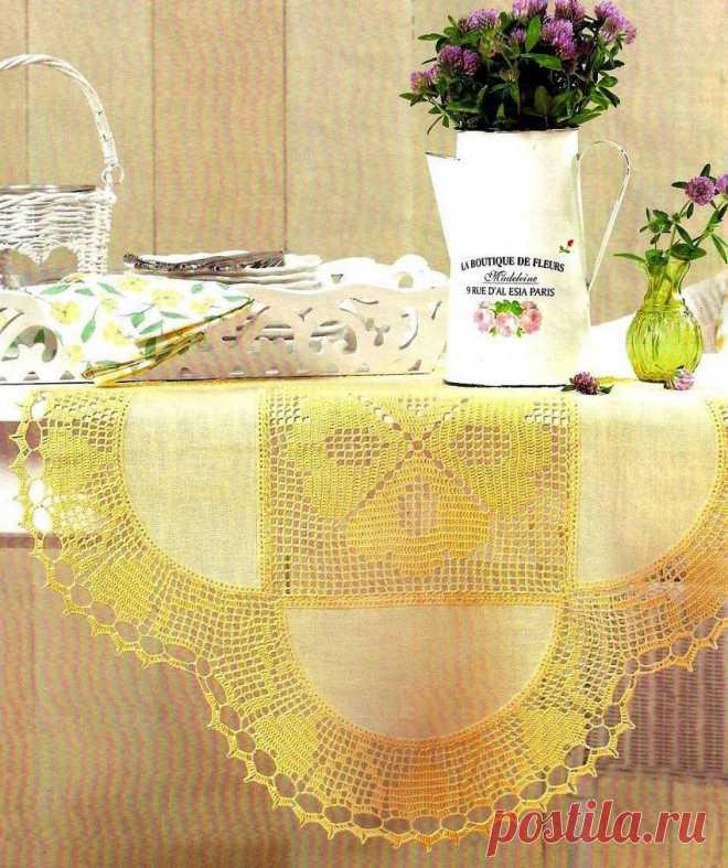 Салфетка - ткань + вязание.