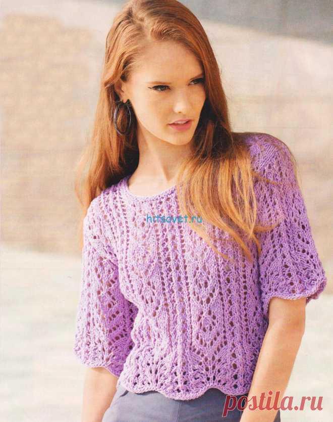 Ажурный пуловер спицами схемы - Хитсовет Ажурный пуловер спицами схемы. Для вязания пуловера Вам потребуется: 300 (350) 400 г пряжи цвета мальвы Mila