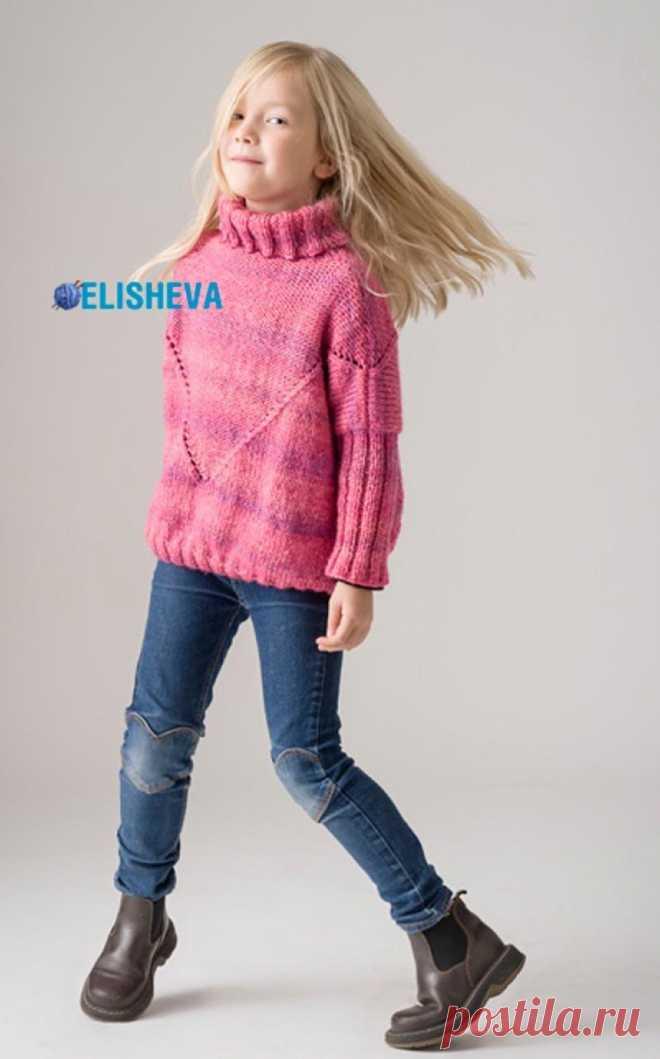 Розовый свитер для девочки от Sisko Salpakivi вязаный ...