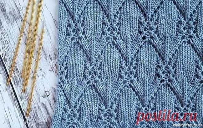 Невероятно красивый узор. Схема | Вязание спицами для начинающих Невероятно красивый узор спицами для вещей с морозными узорами. Схема узора для вязания спицами и условные обозначения.Источник