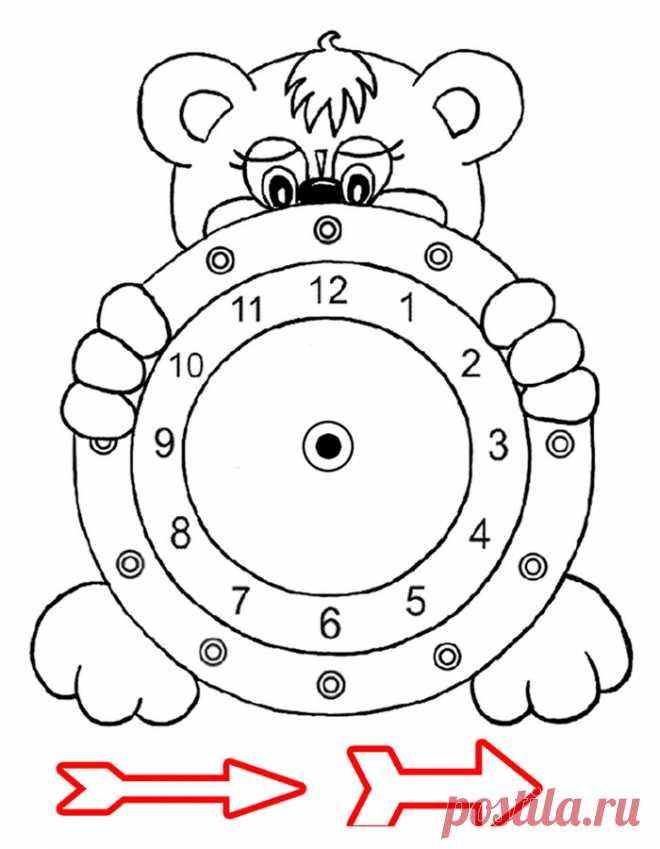 Раскраска Часы   Бумажная работа   Постила