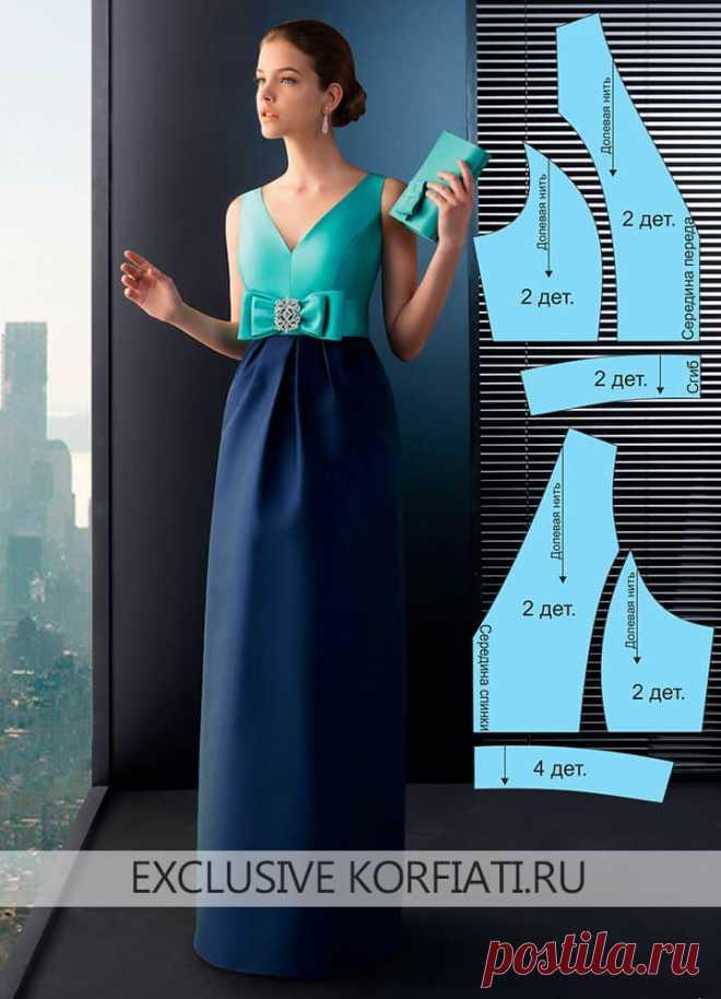 Выкройка длинного платья с бантом от Анастасии Корфиати Для того, чтобы быть готовой ко встрече самого волшебного праздника в году, потребуется сшить новое платье. Выкройка длинного платья с бантом - простая