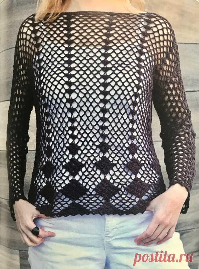 Схема вязанного пуловера крючком, справится даже новичок. | Рукодельница и домохозяйка | Яндекс Дзен
