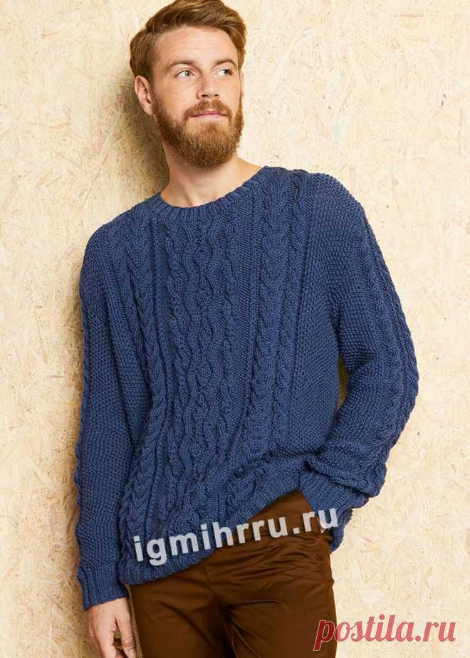 Мужской синий пуловер с «косами». Вязание спицами со схемами и описанием