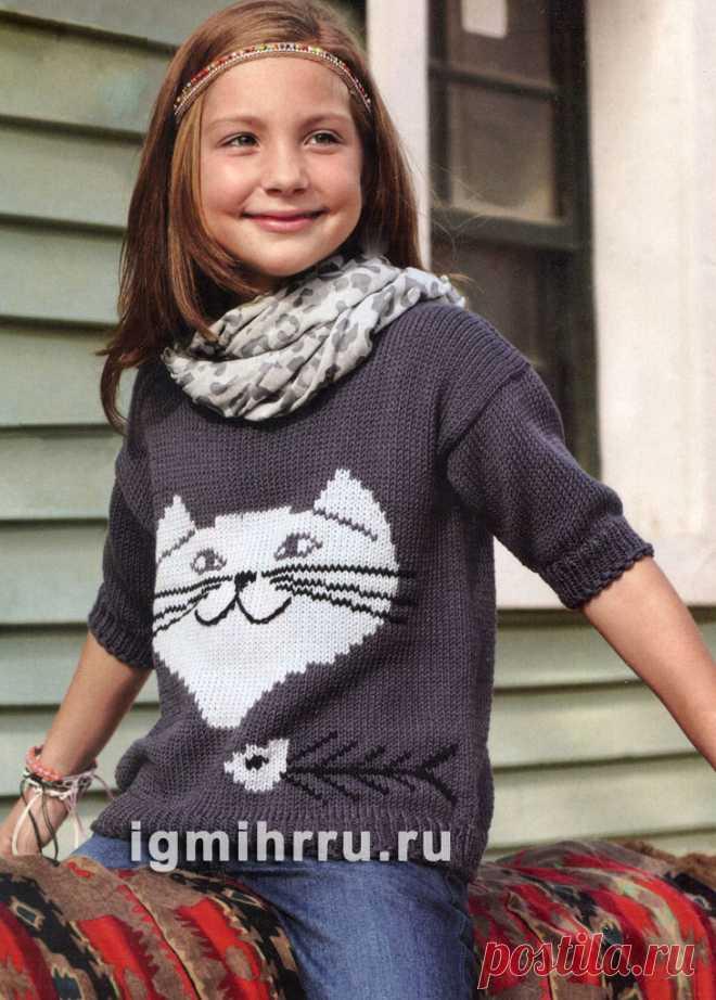 Детский пуловер с «Чеширским котом». Вязание спицами для детей. Вязание спицами для девочек