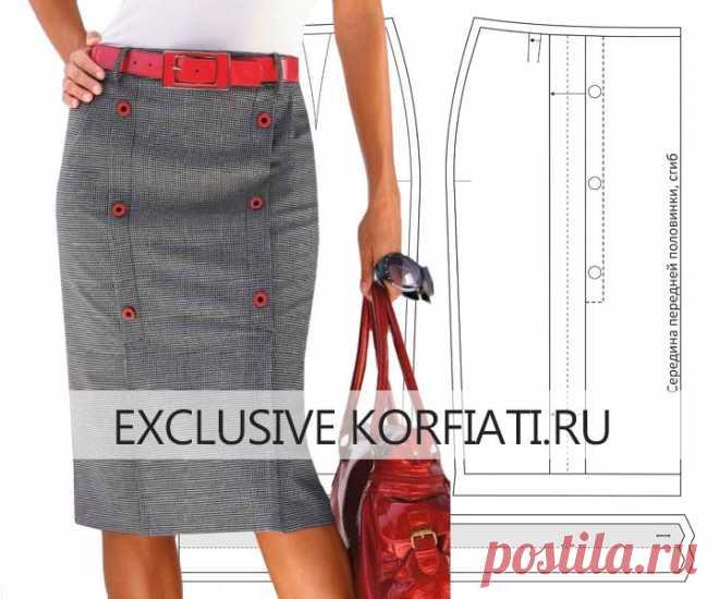 Выкройка юбки с односторонними складками от Анастасии Корфиати