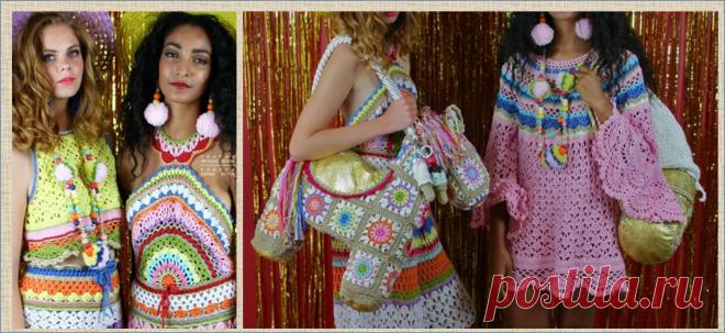 Кэти Джонс - яркое вязание в стиле бабушкиных квадратов от британского дизайнера | МНЕ ИНТЕРЕСНО | Яндекс Дзен
