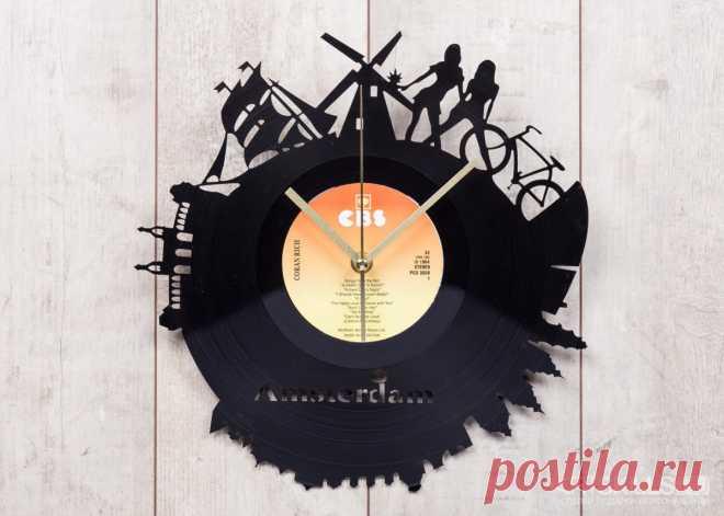 Часы из виниловой пластинки «Амстердам» купить подарок в ArtSkills: фото, цена, отзывы