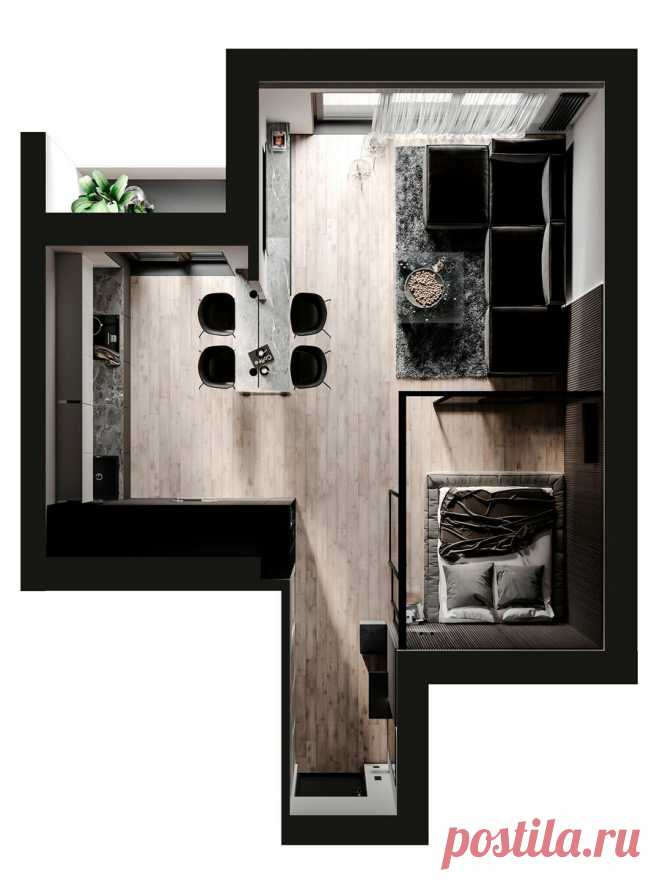 Бетон как главный акцент: стильный интерьер квартиры-студии