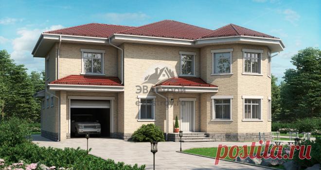 Проект двухэтажного коттеджа 270 м2 с гаражом и эркером в европейском стиле.