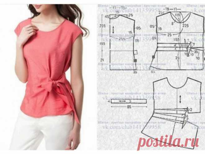 Выкройка полуприталенной блузки Модная одежда и дизайн интерьера своими руками