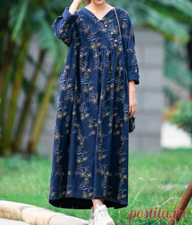 Blue Plus size Dress women Autumn long dress Women cotton | Etsy