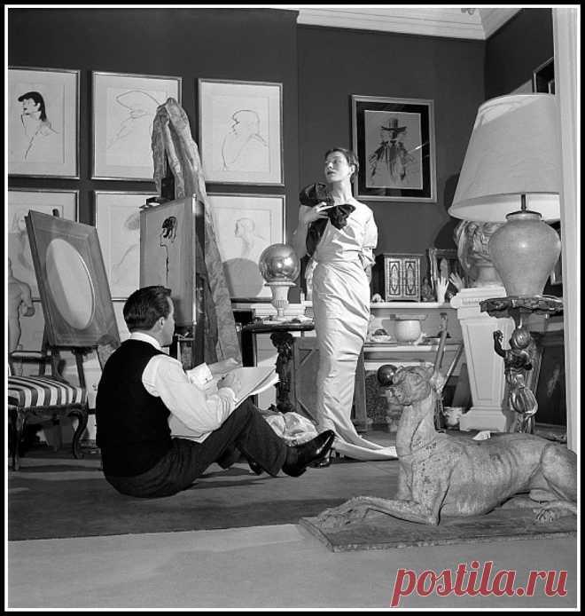 René Gruau sketching Bettina in his studio, photo by Clement Kachelhoffer, 1950