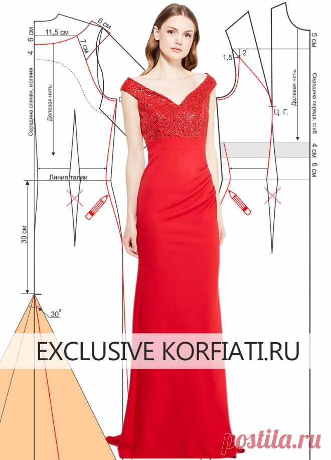 cafb2ffaf54 Как сшить праздничное платье со шлейфом - выкройка А. Корфиати ...
