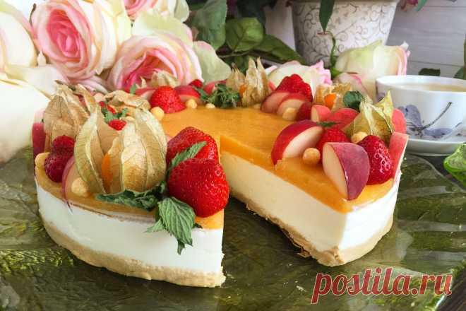 Легкий чизкейк с персиковым желе и фруктами (без выпечки)