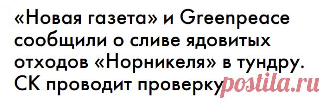 «Новая газета» и Greenpеace сообщили о сливе ядовитых отходов «Норникеля» в тундру. СК проводит проверку — Сноб