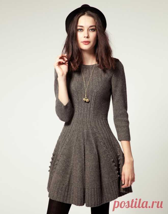 платье колокольчик спицами тема на осинке вязание постила