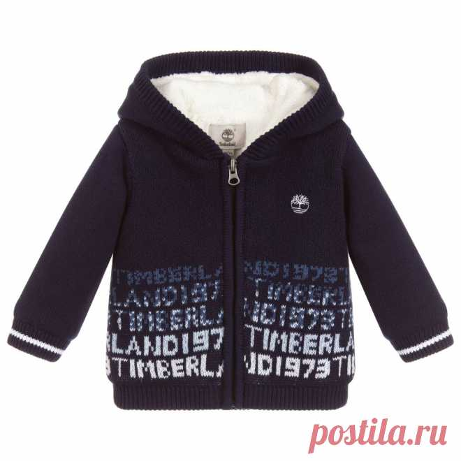 Boys Knitted Cotton Zip-Up Top Little boys blue hooded zip-up top by Timberland. Knitted in super soft cotton, with light padding and comfortable plush fleece lining and logos on the hem and chest.