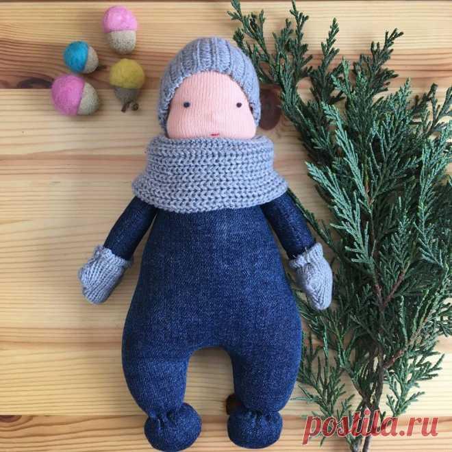 Waldorf rag doll Waldorf deer fabric winter doll with beanie | Etsy