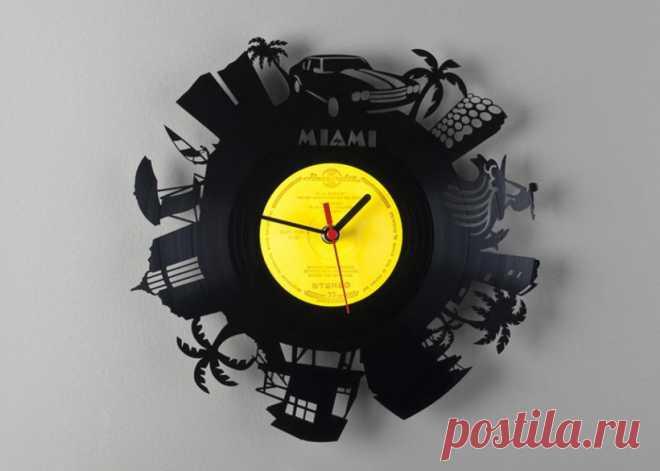 Часы из виниловой пластинки «Майами» купить подарок в ArtSkills: фото, цена, отзывы