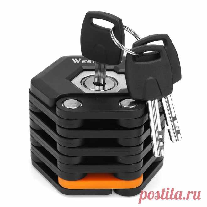 Foldable anti theft hamburg lock security chain with 3 keys for bike bicycle motor Sale - Banggood.com