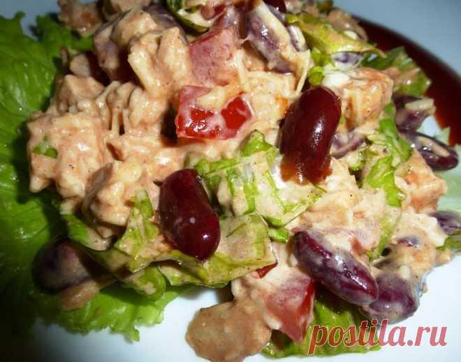 Салат с куриной грудкой и фасолью консервированной рецепт с фото пошагово - 1000.menu