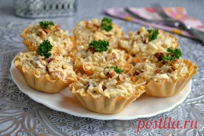 Как приготовить салат с курицей и ананасом в тарталетках - рецепт, ингредиенты и фотографии