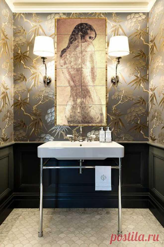 панно для ванной, панно керамическое в душ, плитка ручной работы, плитка керамическая ручной работы, плитка в душ, душевая комната, ванная комната с плиткой