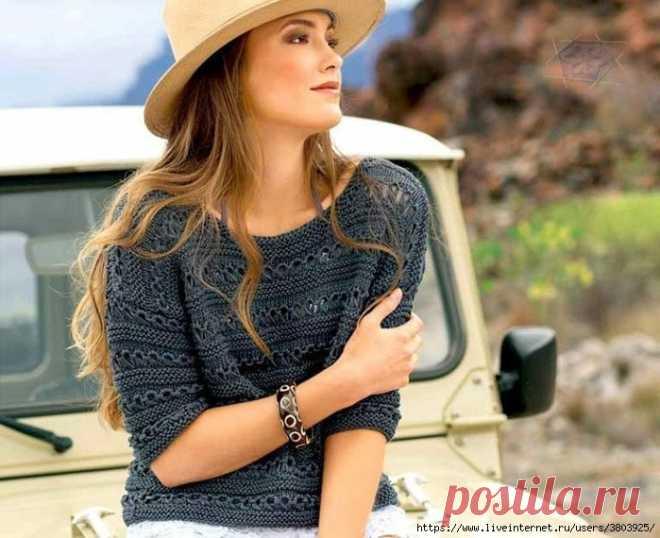 Очень женственный джемпер с короткими рукавами и симпатичной комбинацией узоров
