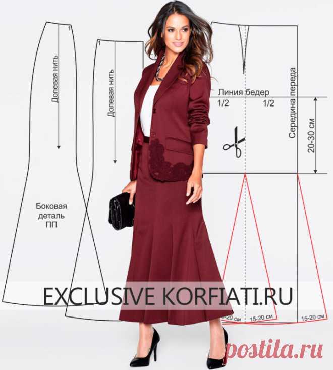 Выкройка юбки-годе от Анастасии Корфиати - шьем сами